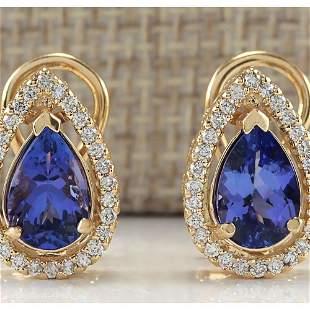3.62 CTW Natural Tanzanite And Diamond Earrings 18K