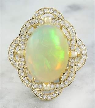 7.05 CTW Opal 14K Yellow Gold Diamond Ring