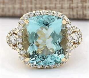 15.11 CTW Natural Blue Aquamarine And Diamond Ring In