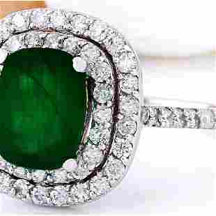 2.99 CTW Natural Emerald 14K Solid White Gold Diamond