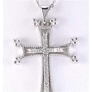 0.25 CTW Natural Cross Diamond Pendant In 14k Solid