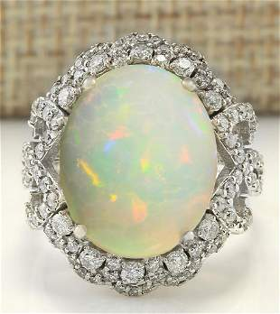 7.24 CTW Natural Opal And Diamond Ring In 18K White