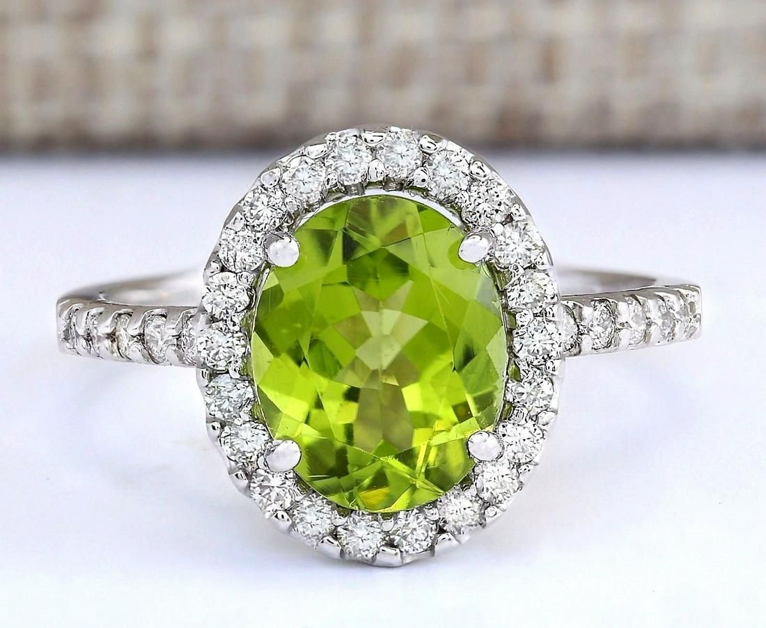 3.03 CTW Natural Peridot And Diamond Ring In 18K White