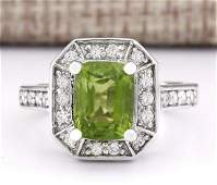 3.67 CTW Natural Peridot And Diamond Ring In 18K White
