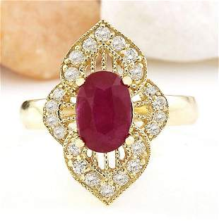 2.50 CTW Natural Ruby 14K Solid Yellow Gold Diamond