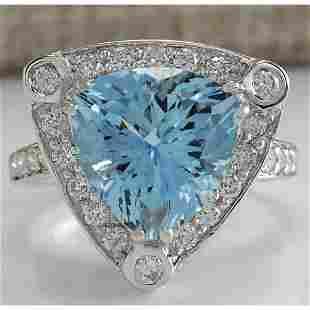 4.73 CTW Natural Aquamarine And Diamond Ring In 18K
