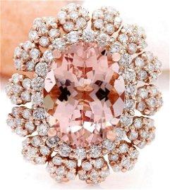 7.86 CTW Natural Morganite 14K Solid Rose Gold Diamond