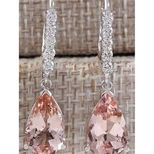 6.25 CTW Natural Morganite And Diamond Earrings 18K