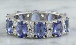 6.94 CTW Tanzanite 18K White Gold Diamond Ring