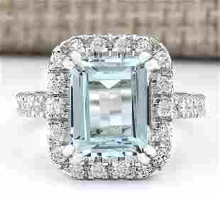 5.63 CTW Natural Aquamarine And Diamond Ring In 14k