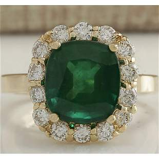5.10 CTW Natural Emerald And Diamond Ring 18K Solid