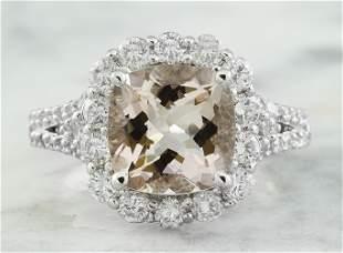 3.70 CTW Morganite 18K White Gold Diamond Gold