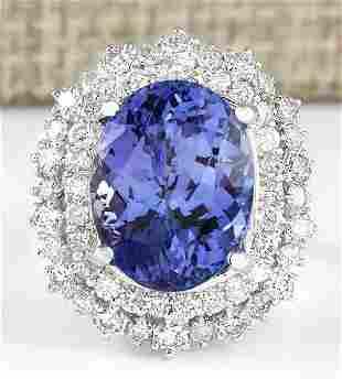 12.86 CTW Natural Blue Tanzanite And Diamond Ring 18K