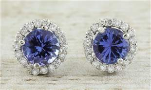 2.40 CTW Tanzanite 18K White Gold Diamond Earrings