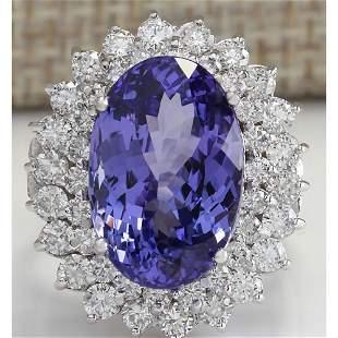 10.62 CTW Natural Tanzanite And Diamond Ring 14K Solid