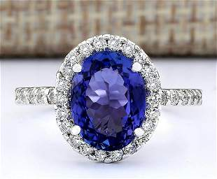 3.63 CTW Natural Blue Tanzanite And Diamond Ring 14k