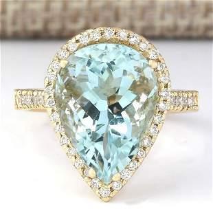 7.74 CTW Natural Blue Aquamarine And Diamond Ring In