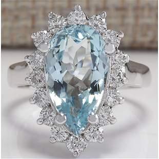 4.63 CTW Natural Aquamarine And Diamond Ring In 18K