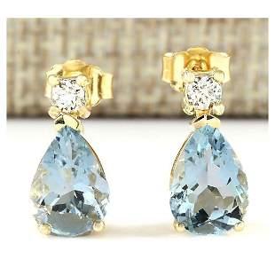 3.52 CTW Natural Aquamarine And Diamond Earrings 14k