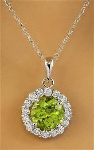 1.82 CTW Peridot 18K White Gold Diamond Necklace