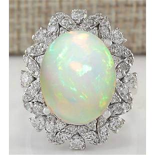 8.15 CTW Natural Opal And Diamond Ring In 18K White