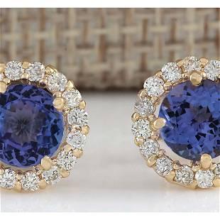 2.90CTW Natural Tanzanite And Diamond Earrings 14K