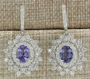 5.50 CTW Natural Tanzanite And Diamond Earrings 14K