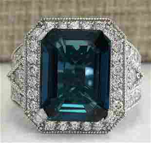15.51CTW Natural London Blue Topaz And Diamond Ring