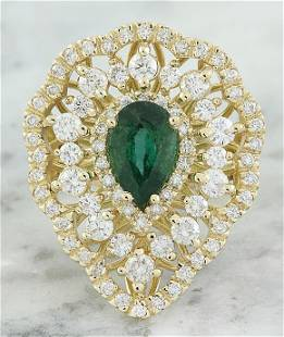 3.41 CTW Emerald 18K Yellow Gold Diamond Ring