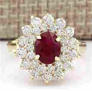 3.98 CTW Natural Ruby And Diamond Ring In 18K Yellow