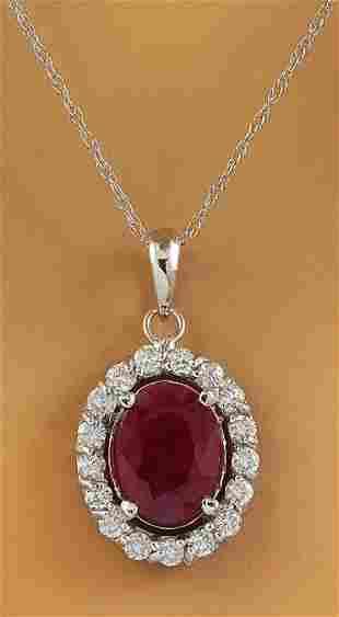 2.00 CTW Ruby 18K White Gold Diamond Necklace