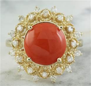3.10 CTW Coral 14K Yellow Gold Diamond Ring