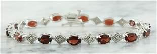 8.50 CTW Garnet 18K White Gold Diamond Bracelet
