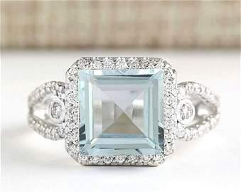 3.43 CTW Natural Aquamarine And Diamond Ring In 14k