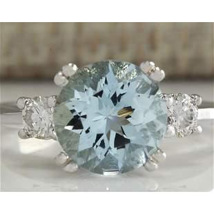 2.33 CTW Natural Aquamarine And Diamond Ring In 18K