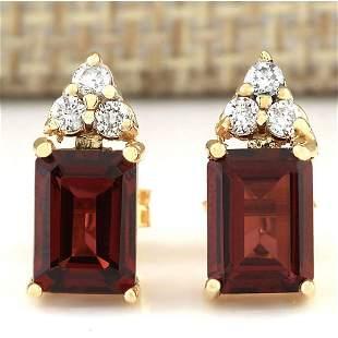 2.66 CTW Natural Garnet And Diamond Earrings 14k Solid