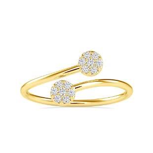 0.10CT Natural Diamond 14K Yellow Gold Ring