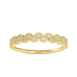 0.07CT Natural Diamond 14K Yellow Gold Ring