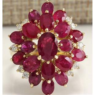 6.04Tw Natural Red Ruby And Diamond Ring 18K Solid