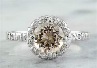 1.34 CTW Morganite 18K White Gold Diamond Ring
