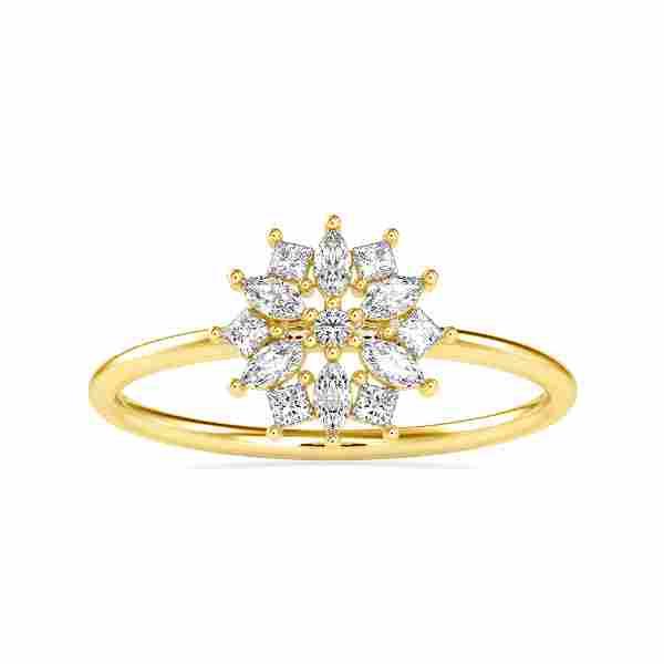 0.27CT Natural Diamond 14K Yellow Gold Ring