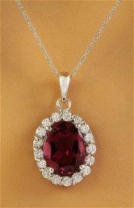 2.00 CTW Tourmaline 18K White Gold Diamond Necklace