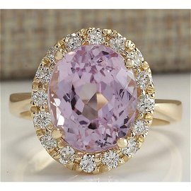 7.02CTW Natural Kunzite And Diamond Ring 14K Solid