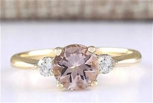1.20 CTW Natural Morganite And Diamond Ring In 14k