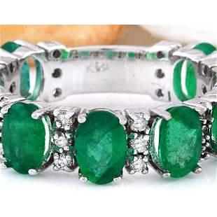 4.60 CTW Natural Emerald 14K Solid White Gold Diamond