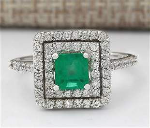 1.70 CTW Natural Emerald And Diamond Ring In 18K White