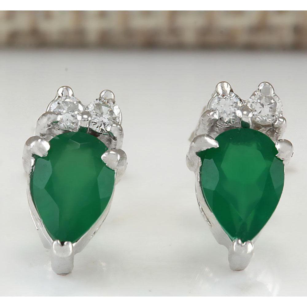 1.19 CTW Natural Emerald And Diamond Earrings 14K Solid