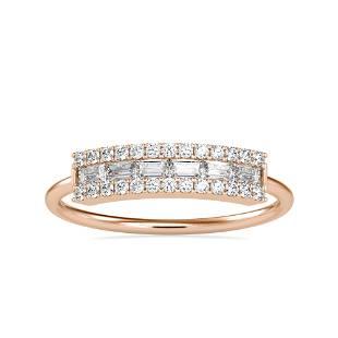 0.33CT Natural Diamond 14K Rose Gold Ring