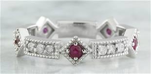 0.46 CTW Ruby 18K White Gold Diamond Ring