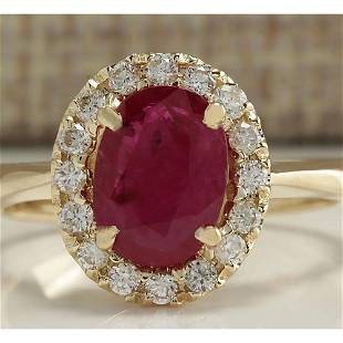 1.81 CTW Natural Red Ruby And Diamond Ring 14K Solid
